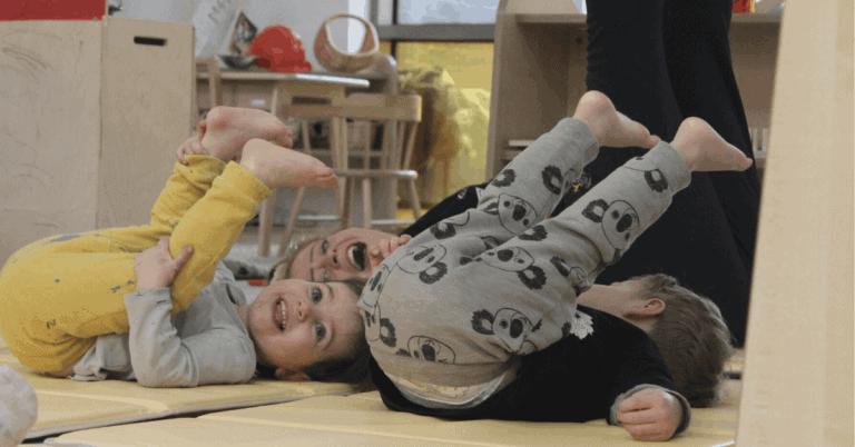 Children doing yoga at Fennies wimbledon