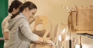 Worker making children's chair