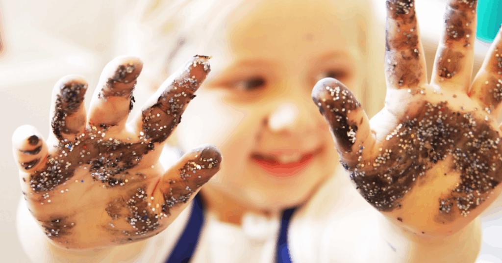 child with handprints