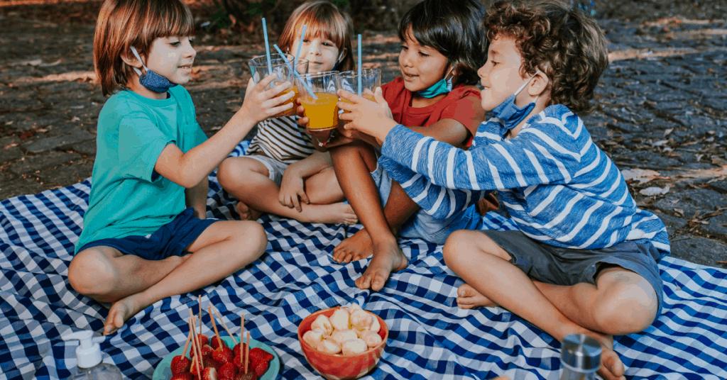 children at picnic